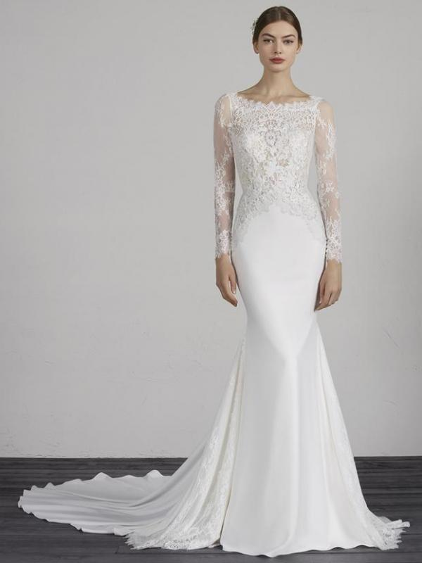 MISTIC PRONOVIAS LOW BACK LACE CREPE HIGH NECK LONG SLEEVE WEDDING DRESS