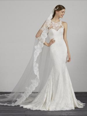 MORELLA HIGH NECK LOW BACK LACE CREPE WEDDING DRESS PRONOVIAS LUV BRIDAL AUSTRALIA