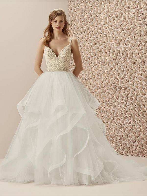 MUSELIN PRONOVIAS GRADUATED WATERFALL TULLE RUFFLE SKIRT BEADED BODICE V NECK WEDDING DRESS LUV BRIDAL AUSTRALIA
