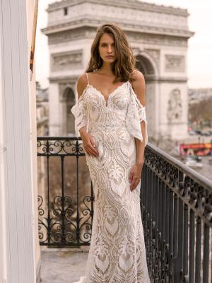 e7144daf3b49 ... Lace Fitted Gown with Spaghetti Straps and Detachable Off-shoulder  Flutter Sleeves. Previous