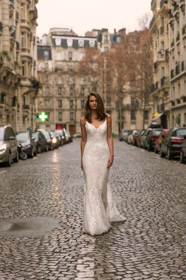 INDIRA ML9019 Full Lace Fitted Gown with V-Neckline Spaghetti Straps and Low Back Wedding Dress