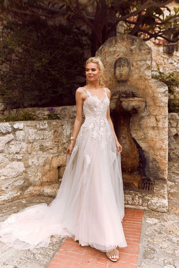 Halani V-Neckline Gown with Tulle and Lace Straps Fitted Bodice and Floaty Tulle Skirt Low Back with Zipper Wedding Dress