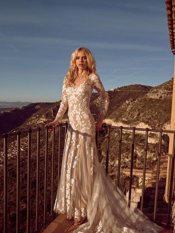 Halia ML4619Full Lace Fitted Gown with Long Lace Sleeves Button Up Back Wedding Dress