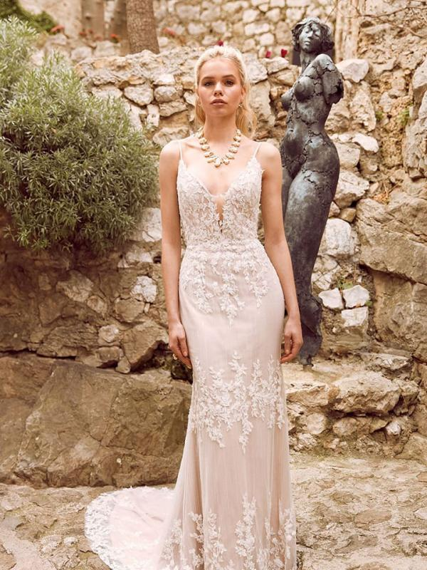 Hunter Fitted Lace Gown with Plunging Neckline Spaghetti Straps Low Back and Zipper Wedding Dress