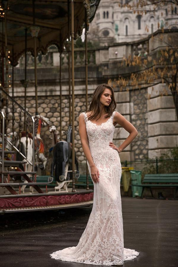 Immy ML5019-ML5019NT No Tassel Full Lace Gown with or without Tussels Zip Back and Straps Wedding Dress
