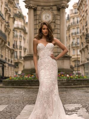 Inez ML5219 Full Lace Fitted Gown with Sweetheart Neckline and Zip Back Wedding Dress