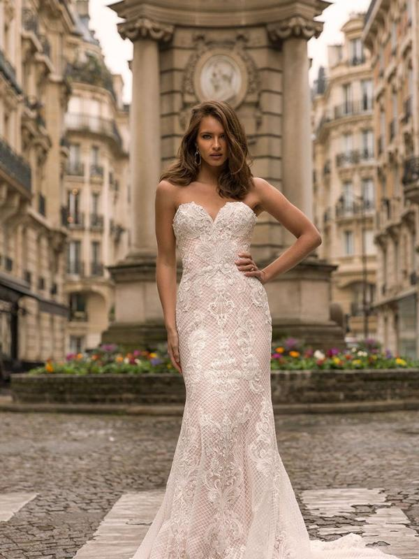 5f34dd636ada INEZ. View · INDIRA ML9019 Full Lace Fitted Gown with V-Neckline Spaghetti  Straps and Low Back Wedding