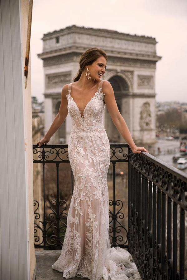 Ivaine ML5419Full Lace and Tulle Fitted Gown with Tulle Straps and Low Back Wedding Dress