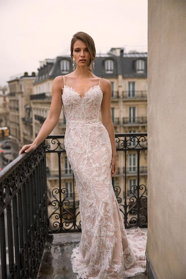 Izabel ML6419 Full Lace Fitted Gown with Seetheart Neckline Spaghetti Straps and Zip-up Back Wedding Dress