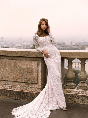 Izadore ML7719 Full Lace Fitted Gown w Long Lace Sleeves Zip and Sweetheart Neckline Wedding Dress