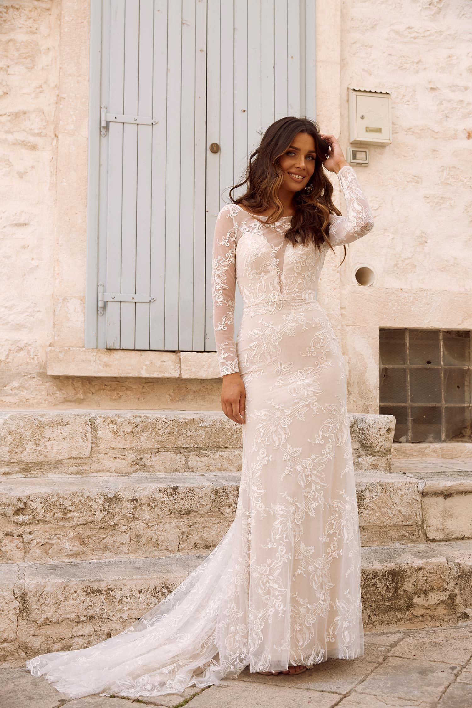 MINDY-ML11303-ILLUSION-PLUNGING-NECK-FULL-LENGTH-FLORAL-LACE-WITH-SLEEVES-WEDDING-DRESS-MADI-LANE-BRIDAL4