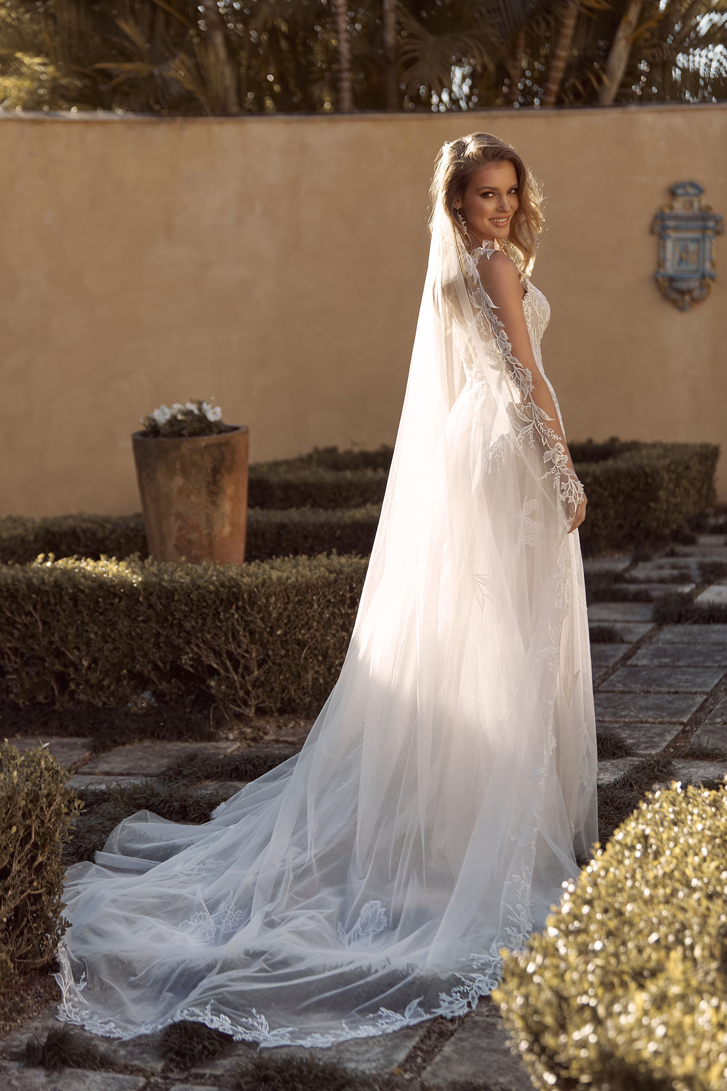 BIRDIE VEIL V935 MATCHING CATHEDRAL LENGTH VEIL WITH FLORAL LACE PAIRED WITH GOWN ML19535 VEIL MADI LANE BRIDAL1