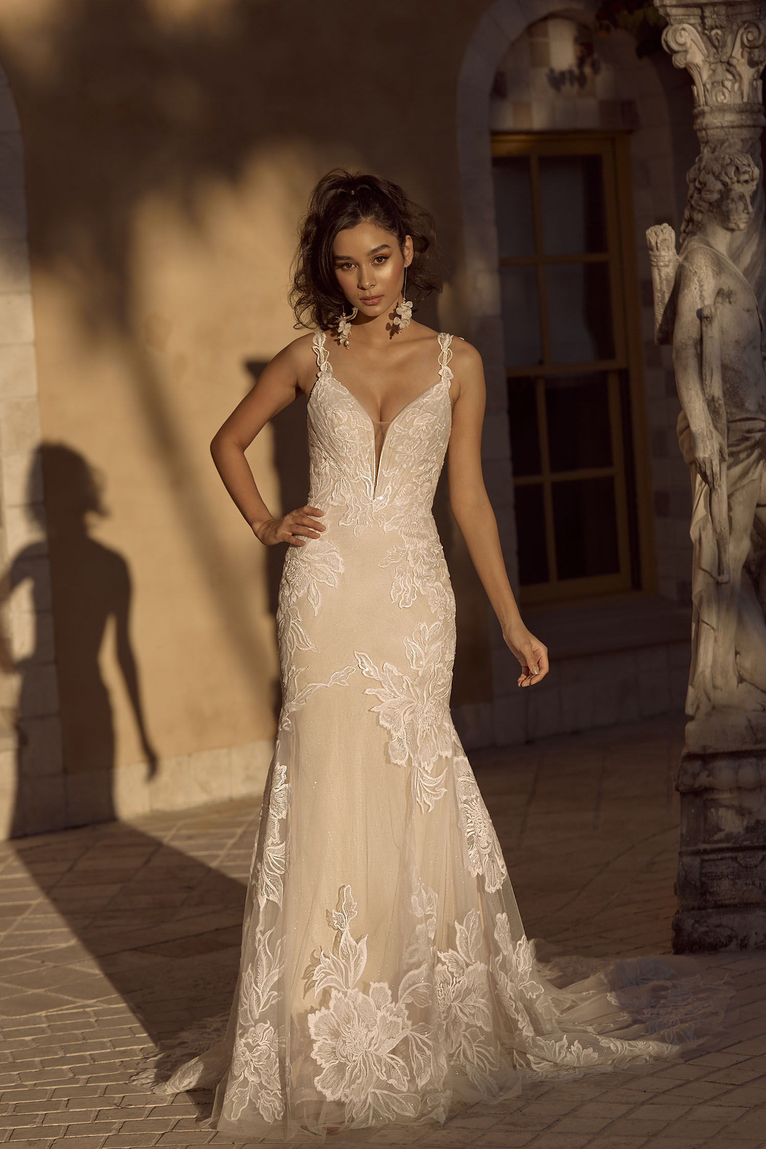 BLAIR ML19017GT FULL LENGTH FIT FLARE SILHOUETTE LOW PLUNGING V NECKLINE WITH EMBROIDERED SEQUINED LACE AND MIRROR BACK FINISH WEDDING DRESS MADI LANE BRIDAL3