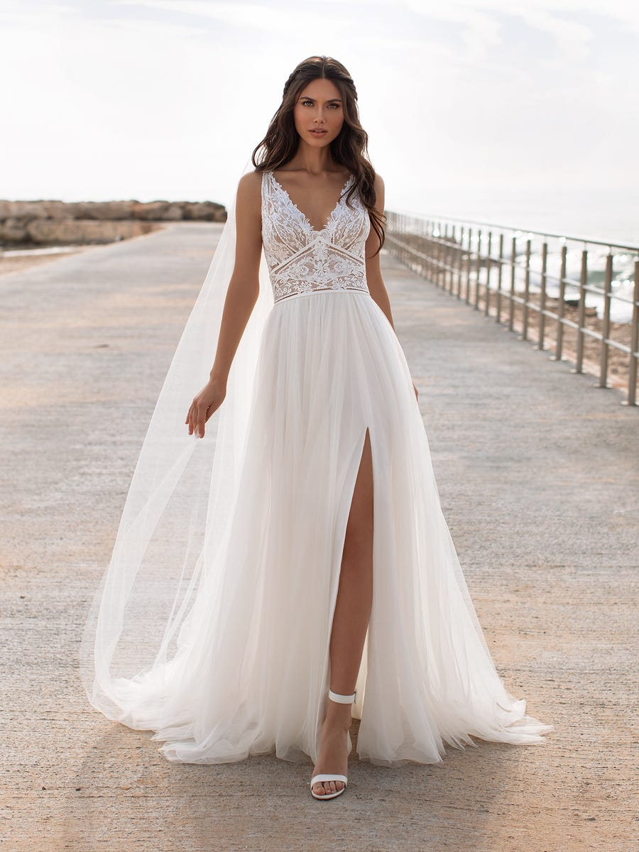 Charisse a-line wedding dress tulle full skirt with thigh high split